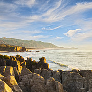 Pancake Prints - Pancake Rocks Dolomite Point Punakaiki New Zealand Print by Colin and Linda McKie