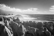 Monochrome Prints - Pancake Rocks Punakaiki West Coast NZ Print by Colin and Linda McKie