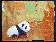 Textural Paintings - Panda Abstract by Tracy L Teeter