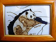 China Pyrography Framed Prints - Panda bear Framed Print by Egri George-Christian