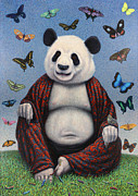 Butterflies Painting Prints - Panda Buddha Print by James W Johnson