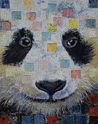 Modern Realism Oil Paintings - Panda Checkers by Michael Creese