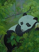 Zoo Animals Paintings - Panda by Christy Brammer