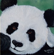 Panda Bear Paintings - Panda by Debbie LaFrance