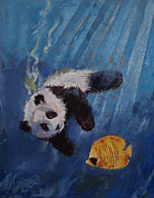 Panda Bear Paintings - Panda Diver by Michael Creese
