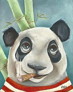 Blue Panda Framed Prints - Panda in a Red Striped Shirt Framed Print by Cori Bartz