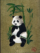 Panda Mixed Media - Panda in bamboo by Elizabeth Scheglov
