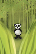 Black And White Prints Prints - Panda in Bamboo Forest Print by Vi Ha