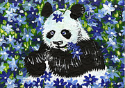 Blue Panda Framed Prints - Panda in Blue Flowers Framed Print by Ian Oliver