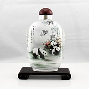 Glass Bottle Drawings - Panda in Snuff Bottle-2 by Guohui Wang