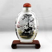 Glass Bottle Drawings - Panda in Snuff Bottle by Guohui Wang
