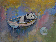 Panda Bear Paintings - Panda Moon by Michael Creese