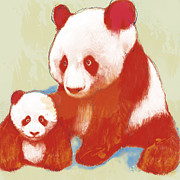 Western Western Art Mixed Media Prints - Panda mum with baby - stylised drawing art poster Print by Kim Wang