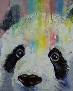 Modern Realism Oil Paintings - Panda Rainbow by Michael Creese