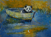 Sad Moon Prints - Panda Sailor Print by Michael Creese