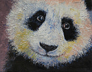 Impasto Posters - Panda Smile Poster by Michael Creese