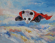 Party Birthday Party Metal Prints - Panda Superhero Metal Print by Michael Creese