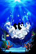Underwater Digital Art Framed Prints - Panda the Explorer Framed Print by Vi Ha