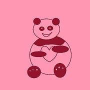 Claret Framed Prints - Panda With A Big Heart In Pink 01 Framed Print by Ausra Paulauskaite