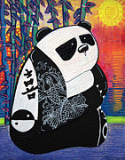 Chinese Characters Paintings - Panda Zen Master by Laura Barbosa