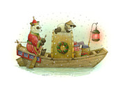 Water Drawings Prints - Pandabears Christmas Print by Kestutis Kasparavicius