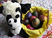 Special Occasion Framed Prints - Pandas celebrating Easter Framed Print by Ausra Paulauskaite