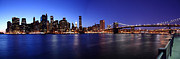 New York City Pyrography Acrylic Prints - Pano Manhattan At Night Acrylic Print by Paslier Morgan