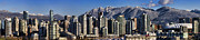 Snow Covered Posters - Pano Vancouver Snowy Skyline Poster by David Smith