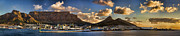 Cape Town Framed Prints - Panorama Cape Town Harbour at Sunset Framed Print by David Smith