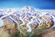 Cartography Painting Prints - Panorama Denali Park Print by Pg Reproductions
