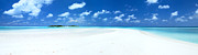 Mural Photos - Panorama of deserted sandy beach and island Maldives by Matteo Colombo