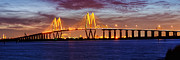 Night Photography Photos - Panorama of Fred Hartman Bridge by Silvio Ligutti