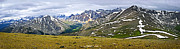 Ridge Photos - Panorama of Rocky Mountains in Jasper National Park by Elena Elisseeva