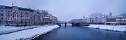 Salzburg Prints - Panorama of Salzburg in the Winter Print by Sabine Jacobs