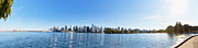 Buildings In The Harbor Digital Art Framed Prints - Panorama of Vancouver Harbor Framed Print by Jodi Jacobson