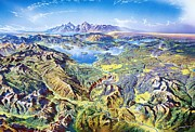 Cartography Painting Prints - Panorama Yellowstone Park Print by Pg Reproductions
