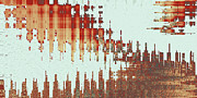 Red Buildings Digital Art Posters - Panoramic City Reflection Poster by Ben and Raisa Gertsberg
