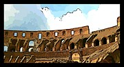 Colliseum Framed Prints - Panoramic Graphic of the Roman Colisseum Framed Print by John Malone