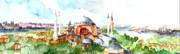 Orthodox Church Painting Acrylic Prints - Panoramic Hagia Sophia in Istanbul Acrylic Print by Faruk Koksal