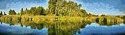Panoramic Painting Of Ducks Lake Print by George Atsametakis