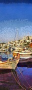 Fishing Photos - Panoramic painting of Mikrolimano port by George Atsametakis