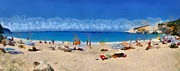 Panoramic Posters - Panoramic painting of Porto Katsiki beach Poster by George Atsametakis
