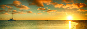 Monkey Mia Photos - Panoramic Photo Sunrise at Monky Mia by Yew Kwang