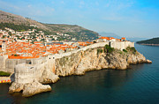 Old City Tower Posters - Panoramic sea view of old Dubrovnik with the bay and the city wa Poster by Kiril Stanchev