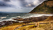 Oregon Coast Framed Prints - Panoramic View Framed Print by Dee Browning
