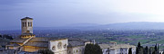 Illuminated Tapestries Textiles - Panoramic View of Assisi at Night by Susan  Schmitz