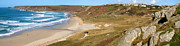 Cape Cornwall Posters - Panoramic view of Sennen Cove and Cape Cornwall Poster by Stephen Rees