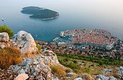 Historic Ship Posters - Panoramic view of the Old Town Dubrovnik and Island Lokrum Poster by Kiril Stanchev