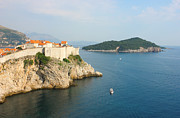 Fortification Posters - Panoramic View Toward old Town Dubrovnik and Island Lokrum Poster by Kiril Stanchev