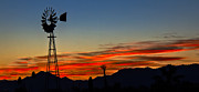 Desert Photography Posters - Panoramic Windmill Silhouette Poster by Robert Bales